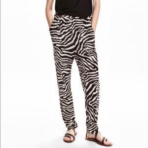 H&M Zebra Print Knit Jersey Joggers S New